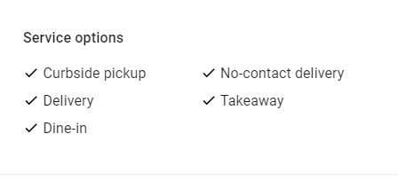 Google My Business Features for Restaurants - Service Attributes